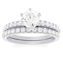 Diamonart Womens Round White Diamonore 10K Gold Engagement Ring