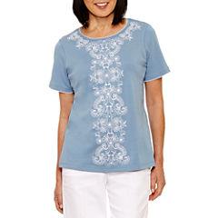 Alfred Dunner Blue Lagoon Short Sleeve Crew Neck T-Shirt-Womens