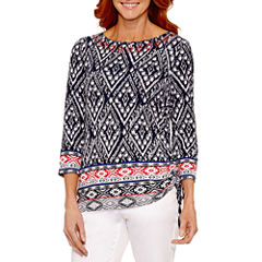 Lark Lane Lark Fashion 3/4 Sleeve Boat Neck T-Shirt-Womens