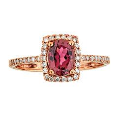 LIMITED QUANTITIES  Pink Tourmaline &  Diamond 10K Rose Gold Ring