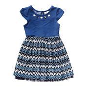 Youngland® Short-Sleeve Denim Lace-Knit Dress - Toddler Girls 2t-4t
