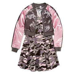 Knit Works Camo Skater Dress w/ Bomber Jacket- Girls' 7-16