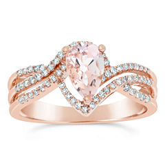 Womens 1/4 CT. T.W. Genuine Pink Morganite 10K Gold Bypass Ring