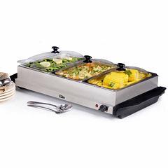 Elite Platinum EWM-6171  3-Tray Buffet Server with Slot Lids, Stainless Steel