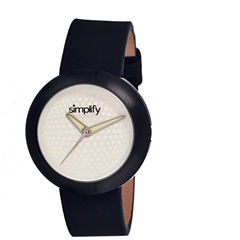 Simplify Unisex The 1200 Black With Silver Dial Leather-Band Watch Sim1206