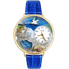 Whimsical Watches Personalized Footprints Womens Gold–Tone Bezel Blue Leather Strap Watch