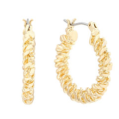 Monet® Gold-Tone Textured Hoop Earrings