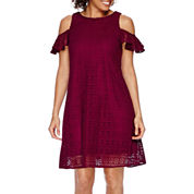 Danny & Nicole® Short-Sleeve Cold Shoulder Lace Fit-and-Flare Dress