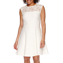 Danny & Nicole® Sleeveless Lace Illusion Neck Fit-and-Flare Dress