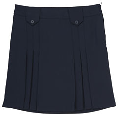 French Toast Front-Pleated Tab Skirt Solid Woven Pleated Skirt - Big Kid Girls