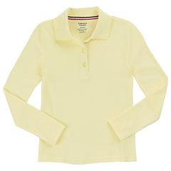 French Toast Long Sleeve Solid Polo Shirt - Preschool Girls
