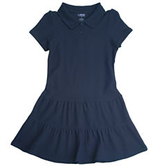 French Toast Short Sleeve Fitted Sleeve Shift Dress - Preschool Girls