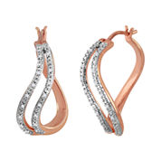 1/10 CT. T.W. Diamond 14K Rose Gold Over Sterling Silver Hoop Earrings