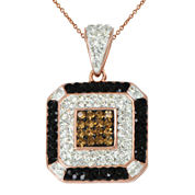 14K Rose Gold Over Silver Crystal Square Pendant Necklace