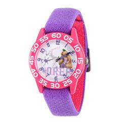 Disney Princess Girls Purple and Pink Tangled Time Teacher Strap Watch W002969
