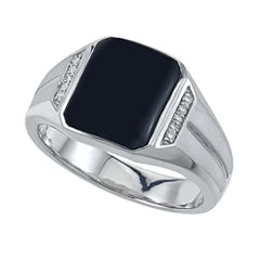 Mens Diamond Accent Black Onyx Sterling Silver Band