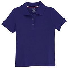 French Toast Short Sleeve Interlock Polo With Picot Collar Short Sleeve Polo Shirt - Big Kid Girls