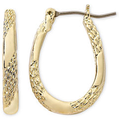Monet® Gold-Tone Small Oval Hoop Earrings
