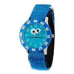 Sesame Street Blue Cookie Monster Time Teacher Strap Watch W003166