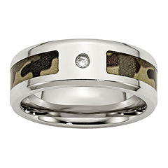 Mens Cubic Zirconia Two Tone Stainless Steel Wedding Band