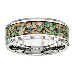 Mens Simulated Green Opal Stainless Steel Wedding Band