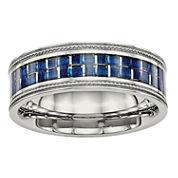 Mens 8mm Stainless Steel Blue Carbon Fiber Textured Wedding Band