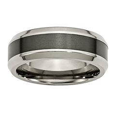 personalized mens 8mm titanium black ceramic inlay wedding band - Personalized Wedding Rings