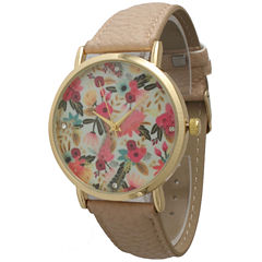 Olivia Pratt Womens Gold-Tone White Dial Lime Croc-Embossed Leather Strap Watch 14328