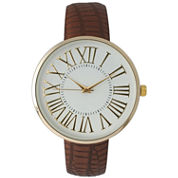 Olivia Pratt Womens Gold-Tone White Dial Brown Croc-Embossed Leather Strap Watch 14328