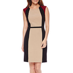 Chelsea Rose Sleeveless Colorblock Crepe Sheath Dress
