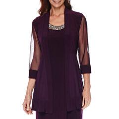 R&M Richards 3/4-Sleeve Sheer-Inset Bead Jacket Dress
