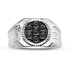 Mens 1/10 CT. T.W. Color-Enhanced Black Diamond Sterling Silver Ring