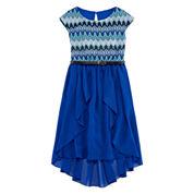 Speechless® Short-Sleeve Knit Lace-to-Chiffon Dress - Girls 7-16
