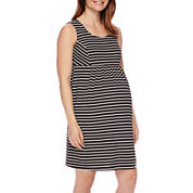 Sleeveless Stripe Ponte Maternity Dress