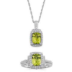 Genuine Peridot and Lab-Created White Sapphire Pendant Necklace and Ring Set