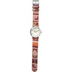 Olivia Pratt Womens Silver-Tone Faux Mop Dial Orange-Maroon Patterned Fabric Strap Watch 10352Tr