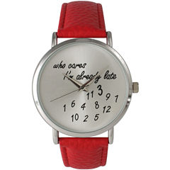 Olivia Pratt Womens Silver-Tone Red Leather Strap Watch 13569