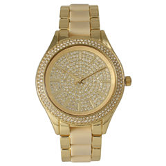 Olivia Pratt Womens Rhinestone Bezel Rhinestone Dial Gold Cream Two Tone Gold Cream Bracelet Watch 15295