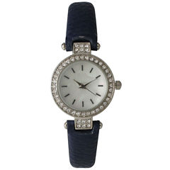 Olivia Pratt Womens Rhinestone Bezel Petite Navy Leather Watch 14829