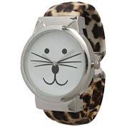 Olivia Pratt Womens Tomcat Dial Cheetah Print Leather Cuff Watch 13895