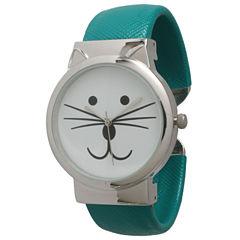 Olivia Pratt Womens Tomcat Dial Teal Leather Cuff Watch 13895