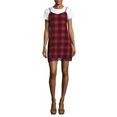 Arizona Short Sleeve Slip Dress-Juniors