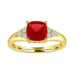 Womens Lab Created Ruby Gold Over Silver Cocktail Ring