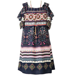 Speechless Print Cold Shoulder Peasant Dress - Girl's 7-16