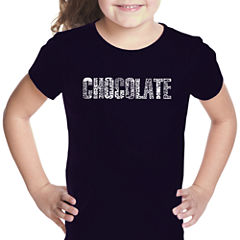 Los Angeles Pop Art Different Foods Made With Chocolate Short Sleeve Graphic T-Shirt Girls