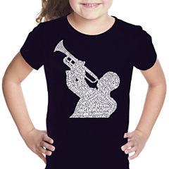 Los Angeles Pop Art All Time Jazz Songs Short Sleeve Graphic T-Shirt Girls