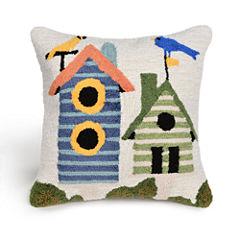 Liora Manne Frontporch Birdhouses Square Outdoor Pillow