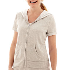 Silverwear™ Short-Sleeve Hooded Eyelet Jacket - Petite