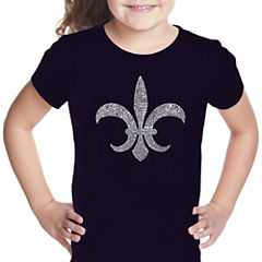 Los Angeles Pop Art Fleur De Lis - Popular Louisiana Cities Short Sleeve Graphic T-Shirt Girls