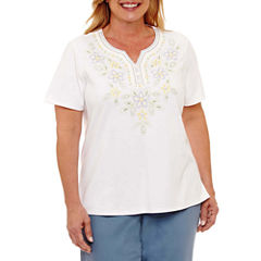 Alfred Dunner Blue Lagoon Short Sleeve Split Crew Neck T-Shirt-Womens Plus